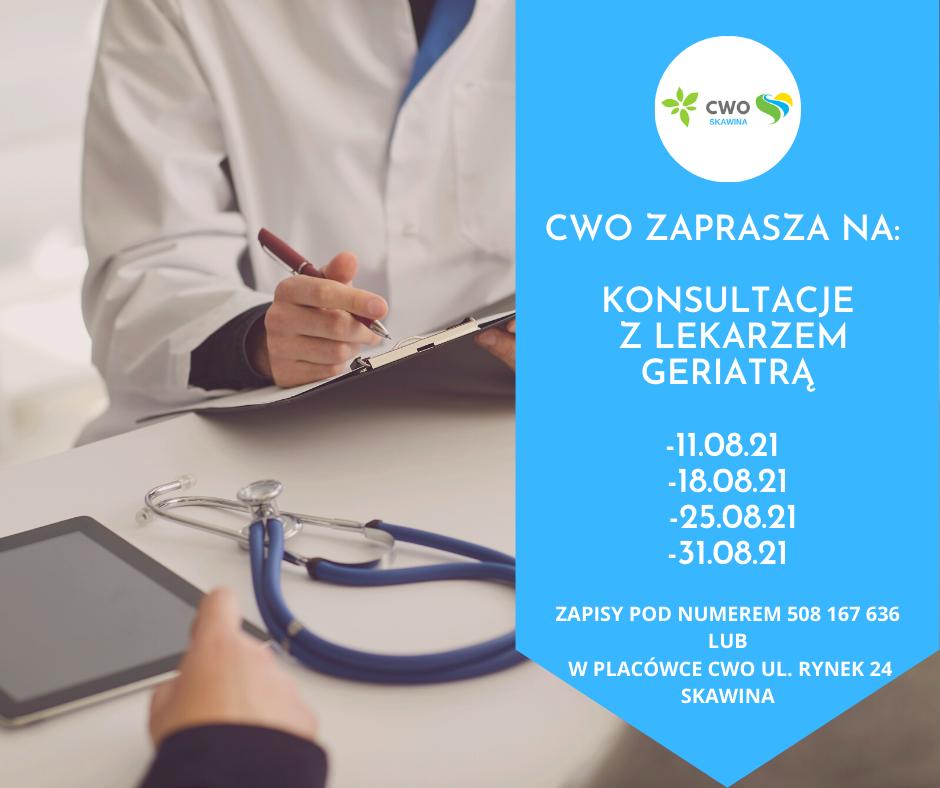 Konsultacje z lekarzem geriatrą w sierpniu 2021 r.