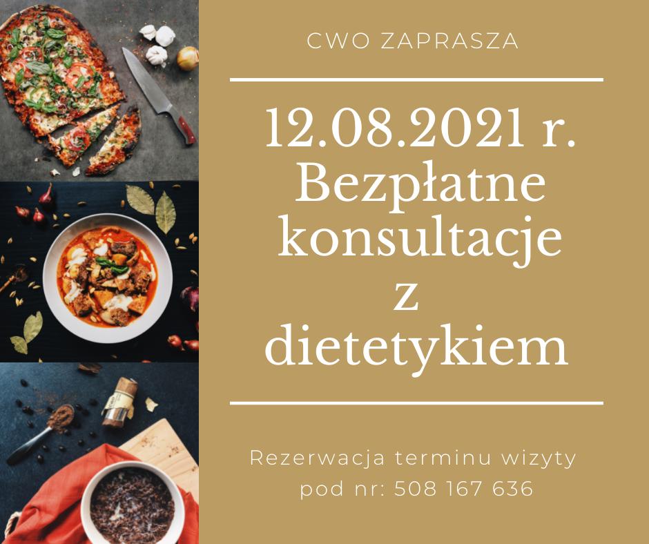 12.08.2021 r. Bezpłatne konsultacje z dietetykiem