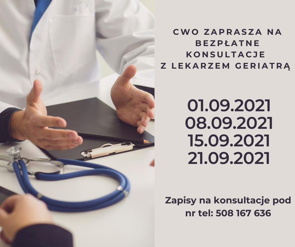 Terminy konsultacji z lekarzem geriatrą we wrześniu 2021 r.