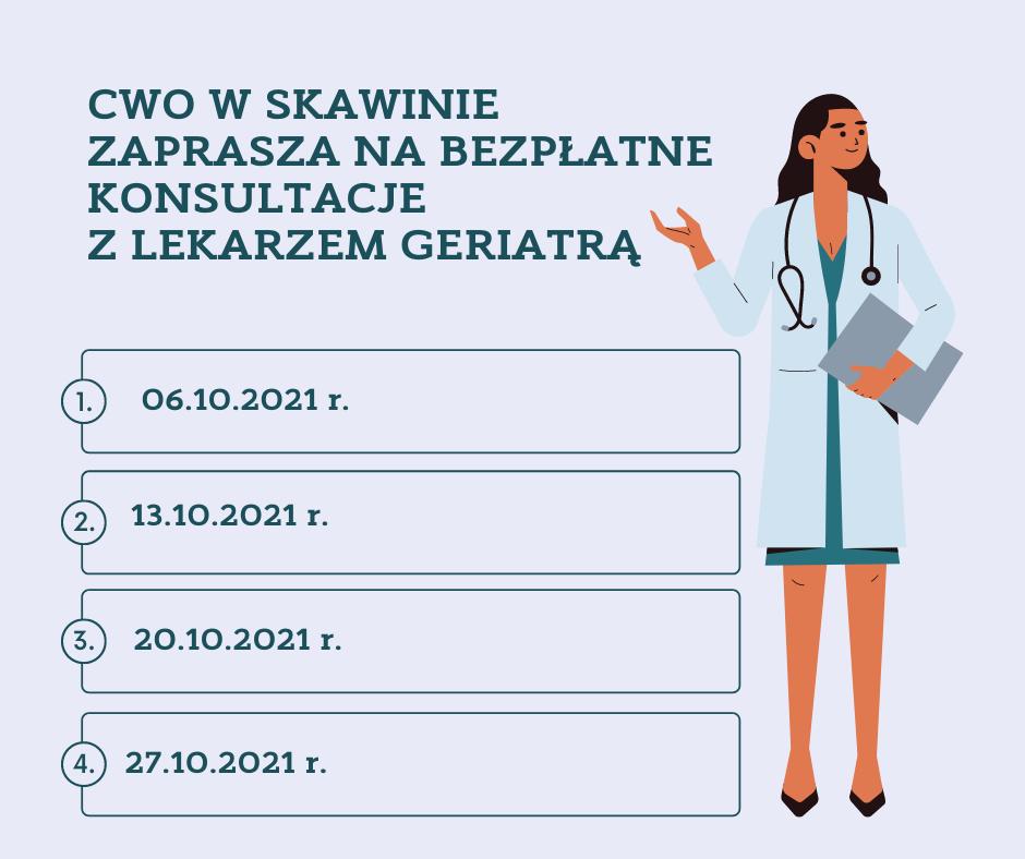 Terminy konsultacji z lekarzem geriatrą w październiku