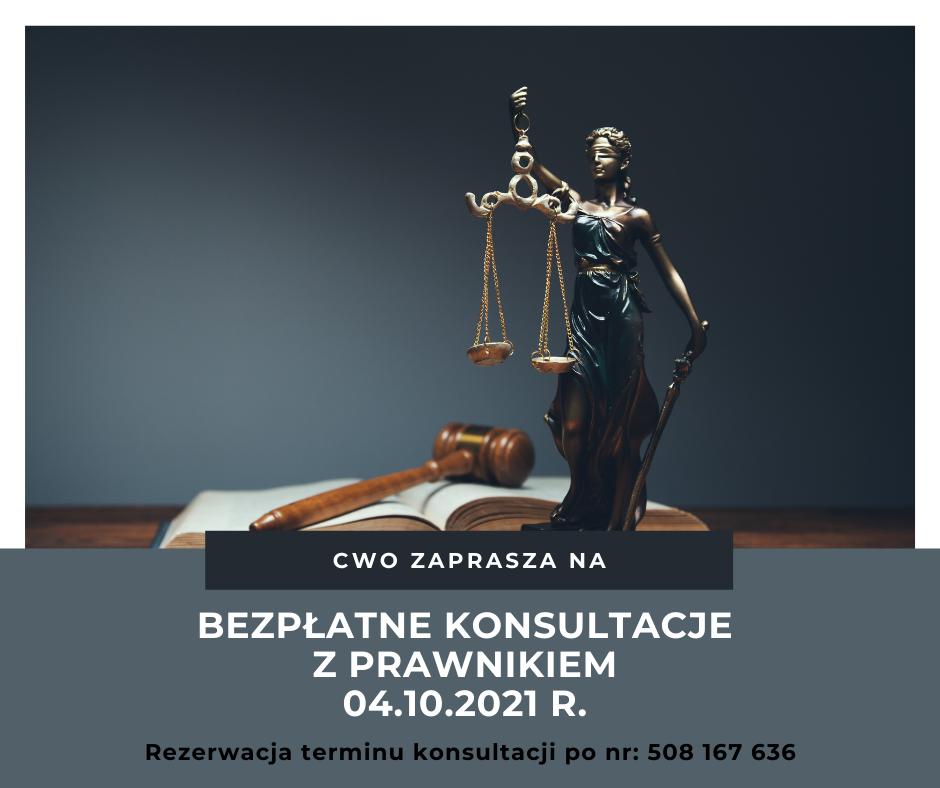 Bezpłatne konsultacje z prawnikiem 04.10.2021 r.