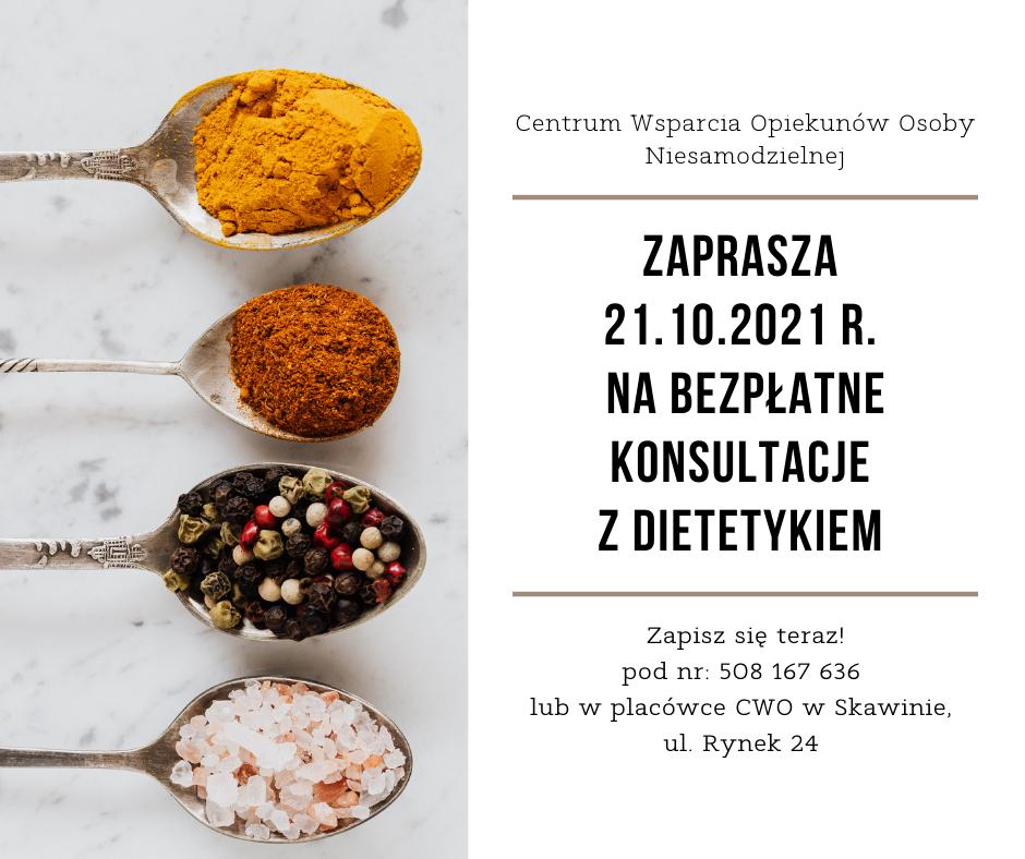 21.10.2021 r. Bezpłatne konsultacje z dietetykiem