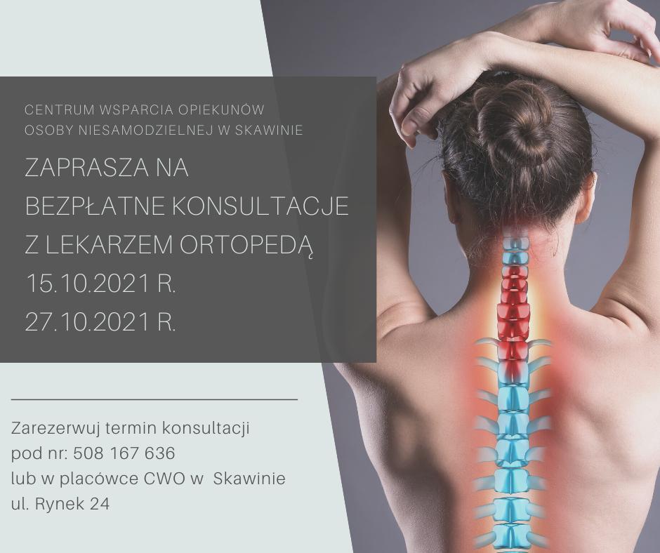 Konsultacje z lekarzem ortopedą 15.10.2021 r i 27.10.2021 r.